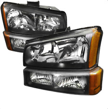 03-06 Chevy Silverado Euro Style Crystal Headlights (Amber Reflector) - Black