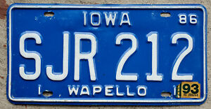 1986 White on Blue Iowa License Plate Wapello County with a 1993 Sticker
