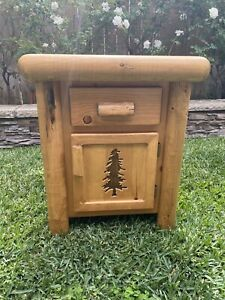 Log Cabin End Table/Night Stand 1 Top Drawer, 1 Bottom Cabinet
