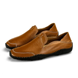 Mens Leather Casual Round Toe Loafers Flats Outdoor Driving Moccasins Shoes