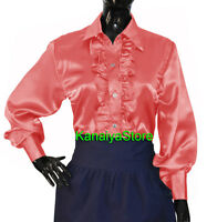 Salmon Satin Button Down Solid Collar FRONT RUFFLE Shirt Long Sleeve Blouse