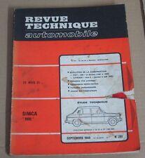 Revue technique  RTA 281 SIMCA 1100 evolution modeles 5 & 6 CV 1968-69