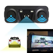 3in1 170° Car Visual Reversing Rear View Camera + Backup Radar Parking Sensor US