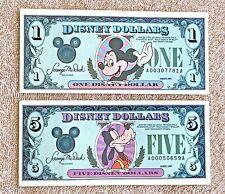 1989 Disneyland Disney Dollars: Mickey $1 A00307781A and Goofy $5 A00050659A
