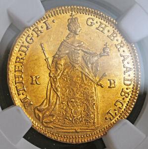 1765, Kingdom of Hungary, Maria Theresa. Gold Ducat Coin. Kremnitz! NGC MS-60!