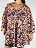 AUTOGRAPH Red White Floral Print V-Neck Ruched Sleeve Blouse Plus Size AU 24-26