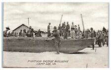 Early 1900s Pontoon Bridge Building, Camp Lee, VA Postcard
