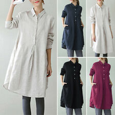 ZANZEA AU 10-24 Women Long Sleeve Tunic Top Blouse Shirt Plus Size Cotton Dress