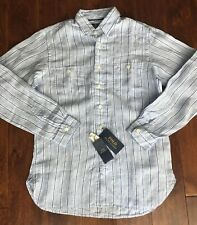 Polo Ralph Lauren Blue Long Sleeve 100 Linen Shirt Sz XL