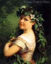 Girl with a Wreath by Fritz Zuber-Buhler Art Garland Flower Hair 8x10 Print 0995