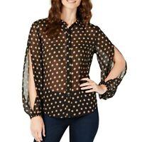 INC NEW Women's Polka Dot Split Sleeves Sheer Blouse Shirt Top TEDO