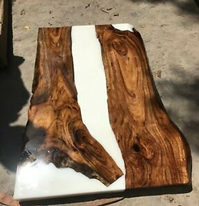 White Epoxy, Resin, River, Epoxy Dining Table Walnut Table Decors Made To Order