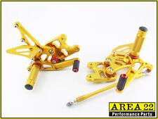 2007-2008 Suzuki GSX-R1000 Area 22 Adjustable Rear Sets Gold Rearset GSXR1000