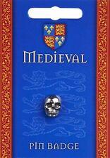 Medieval Skull Silver Pewter Lapel Pin Badge