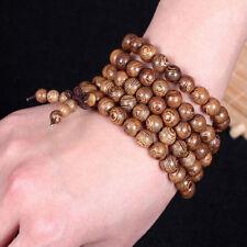 Brown wooden Tibetan Buddhist wrap around bracelet necklace prayer worry beads