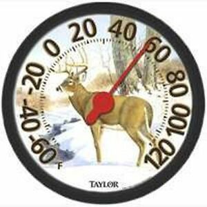 "NEW TAYLOR 6709E LARGE 12"" DIAL DEER INDOOR OUTDOOR THERMOMETER 6289813"