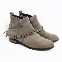 Freda Salvador Ankle Boots Booties Womens Sz 7 Star Jodhpur Taupe Suede Fringe