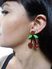 Boucles d'oreilles originales cerises cherries rouges acrylique strass rétro