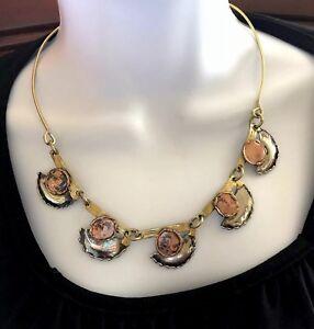 Artisan Modernist Mixed Metals Collar Necklace Copper Silver Tone
