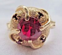 Fine Designer 14K Gold 2.25 Ct Ruby Cocktail Ring Sz 6.5 No Scrap 6g by Kimberly
