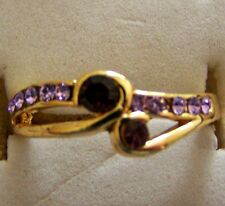 SIZE: 7.5 ~ 9K _YELLOW_GOLD_FILLED_AMETHYST_RING -- (GREAT _ GIFT)
