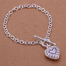 925 Stamped Sterling Silver Filled SF Heart CZ Pendant Bracelet Bangle BL-A235