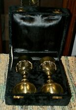 Two Grape Harvest Solid Brass Goblets - Set of Two with Gift Box