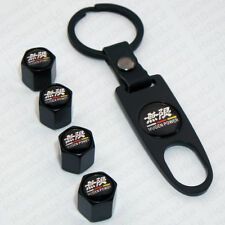 Black Car Wheel Tire Valve Dust Stems Air Caps + Keychain With Mugen Emblem