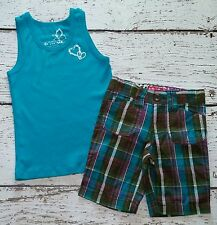 CHILDREN'S PLACE Girls Teal Tank Top and Plaid Shorts 4 4T 5 5T EUC