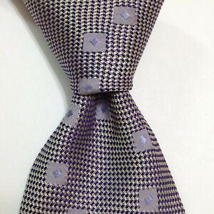 LANVIN Paris Men's 100% Silk Necktie FRANCE Designer Geometric Gray/Blue EUC