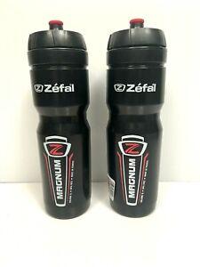 Zefal Water Bottles Magnum 1 liter Set of 2 Black Dishwasher Safe France No BPA