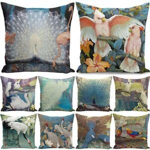 Animal Peacock Parrot Linen Pillow Case Home Sofa Decor Square Cushion Cover