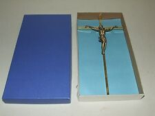 Vintage Brass Art Deco Jesus Crucifix Wall Cross NOS Unused with Original Box