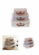 Sass & Belle Shabby Chic Vintage Ditsy Floral Suitcase Storage Boxes Set of 3