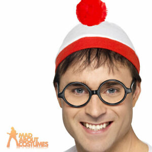 Wheres Wally Kit Hat Glasses Official Licensed Mens Womens Fancy Dress Accessory