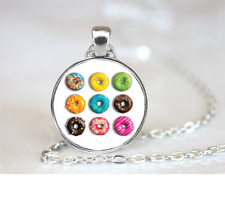 Donut Cut-A-Part Designs PENDANT NECKLACE Chain Glass Tibet Silver Jewellery