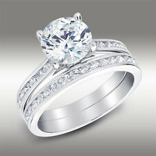 2.94 Ct Brilliant Cut Engagement Ring Matching Bridal Band Solid 14K White Gold