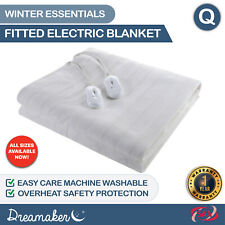 Dreamaker Premium Washable Electric Blanket with Overheat Protection, Size Queen - White