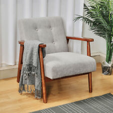 Vintage Chenille Fabric Armchair Buttoned Accent Lounge Chair Solid Wooden Frame