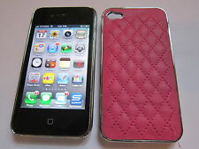 Red Leather Stitched Back Designer Luxury iPhone 4 4G 4S Full Back Case
