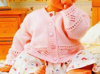 "Baby Diamond Eyelet Border Cardigan with Picot Edge 16"" - 22""  4 ply To Knit"