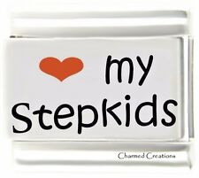 I Love My Stepkids 9mm Italian Charm Red Heart Laser Modular Link Family Kids