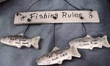 fishing rules, sign wall decor, hanging clean your own fish, bait hook,tell lies