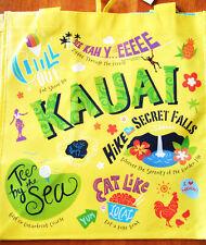 HAWAIIAN KAUAI YELLOW REUSABLE SHOPPING BAG  BEACH BAG / BEACH TOTE