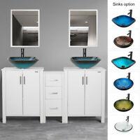 "60"" Bathroom White Vanity W/Round Square Vessel Sink Faucet W/Drain Mirror Combo"