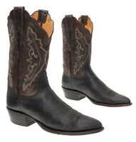 LUCCHESE Cowboy Boots 8 B Womens Deerskin Tanned Black Leather Western Boot USA