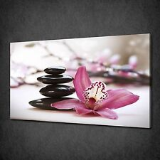 ZEN STONES PINK ORCHID CANVAS WALL ART PRINT PICTURE POSTER READY TO HANG