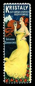 Hungary Poster Stamp - Advertising Kristaly Mineral Water - Great Image!