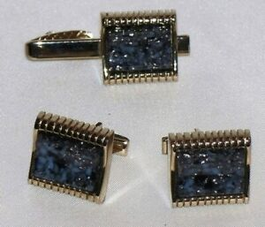 Bluish Gray/ Black & Silver Confetti Gold Tone Cuff Links Cufflinks & Tie Clip