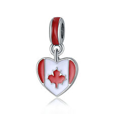 Canada Heart Flag Maple Leaf Enamel Dangle Bead Suit 925 Silver Charms Bracelet